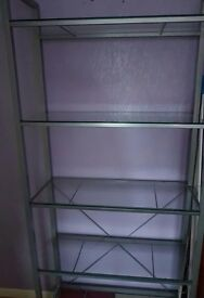 Glass Shelving Unit. Excellent Condition.
