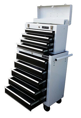 200 US PRO TOOLS BLACK WHITE TOOL CHEST ROLLCAB STEEL BOX ROLLER CABINET