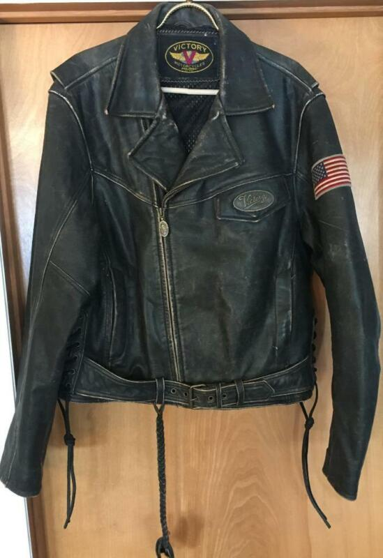 VINTAGE VICTORY DISTRESSED LEATHER BELTED MOTORCYCLE JACKET WITH PATCHES