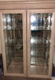 Light Oak Glass Cabinet.