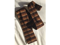 Vintage Knitted Tie – Brown Stripes satin lining near neck