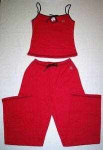 Women's / Ladies Long Trouser Pyjama Set in RED - Size Small (8-10)