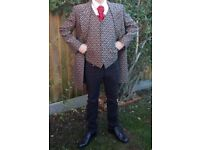 Steampunk dress coat with matching waistcoat. Gold Paisley style design. Fit chest 38 inches.