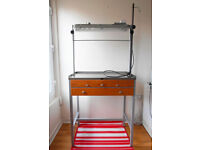 Jewellery Work Bench - steel structure, heavy and solid, stainless steel top, 4 drawers, lamp