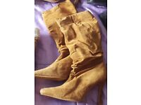 A Pair of Ladies Size 3 Boots - tan suede style - New - Not worn, just stored