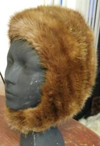 WOMENS MINK WINTER HAT CAP BONNET Real Fur Vintage Retro Warm Ears!