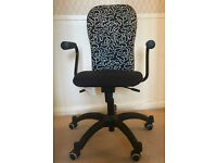 IKEA patterned black office chair with arms (NOMINELL - rare & discontinued)