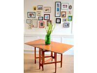 Vintage Midcentury McIntosh drop leaf teak table. Delivery. Modern/ retro / Danish style.