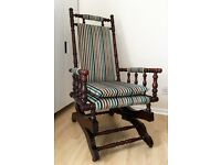 Antique Rocking Chair, circa 1890, recently professionally re-upholstered
