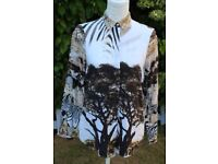 ZARA basic animal print viscose shirt UK10