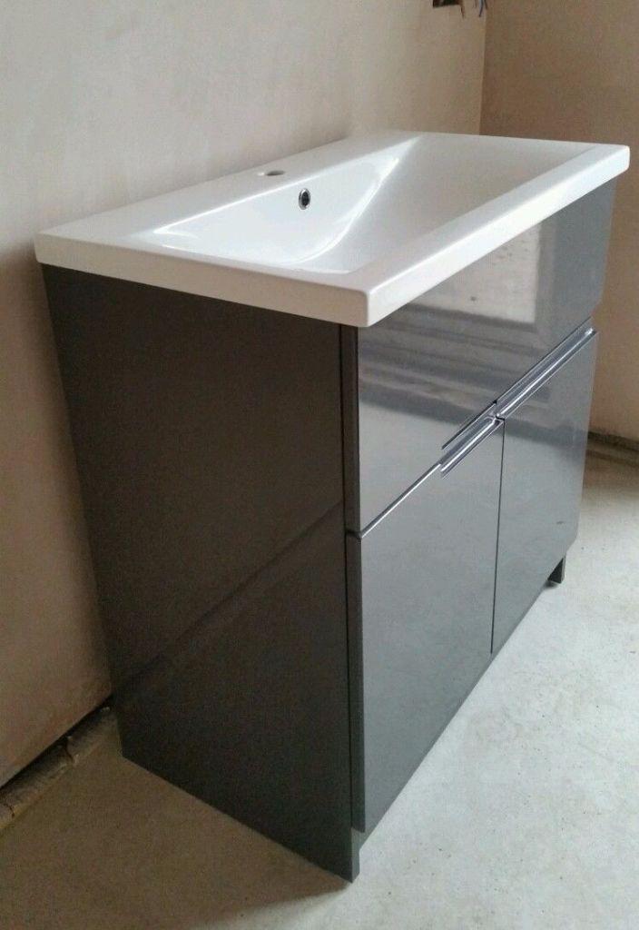 *NEW* designer Gloss grey floor standing Bathroom Vanity ...