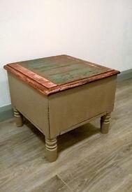 Vintage oak little storage chest - shabby chic