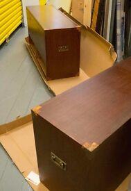 Unique Storage unit for vinyl record enthusiast. Pair of stackable military chest style teak units.