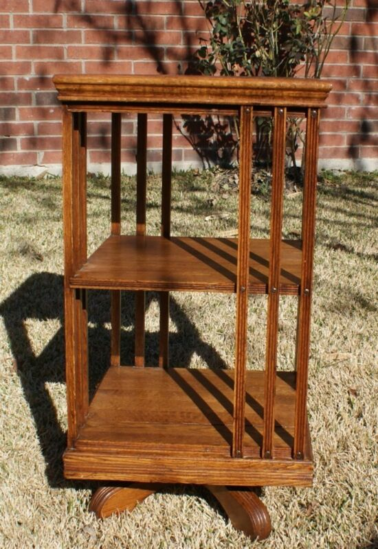 Beautiful Antique Oak Revolving / Spinning Bookcase LOCAL PICKUP DFW TEXAS
