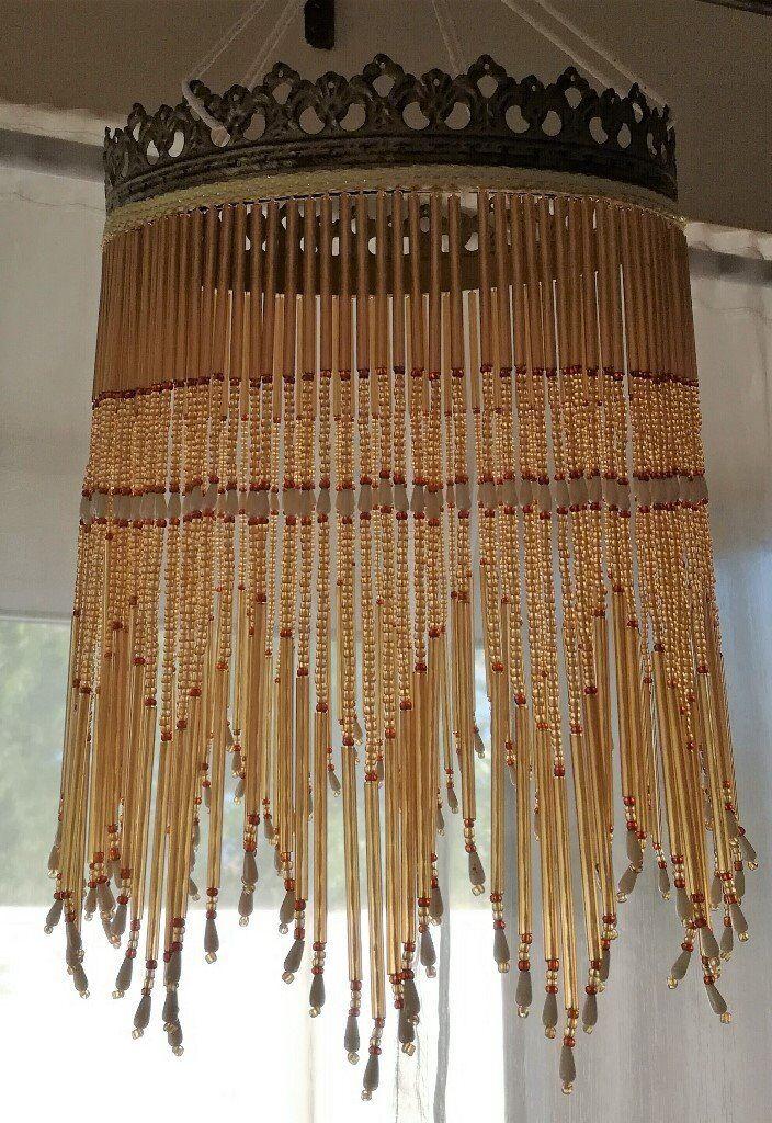 ART DECO STYLE Light Shade Glass Beads Amber Gold Brown Pearl Fringe Ornate Filigree Rim lighting