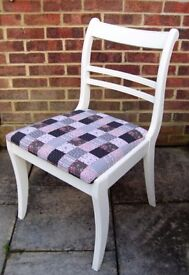 Lovely Regency Style Chair painted in Clotted Cream Colour and reupholstered in any fabric