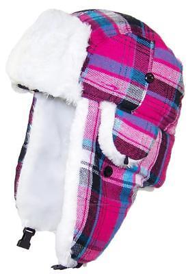 BWH Big Kids Quality Madras Plaid Russian/Trapper Hat W/Faux Fur #188 Pink](Kids Russian Hats)