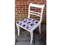 Stunning Regency Style Chair painted in Clotted Cream Colour and reupholstered in fabric of choice