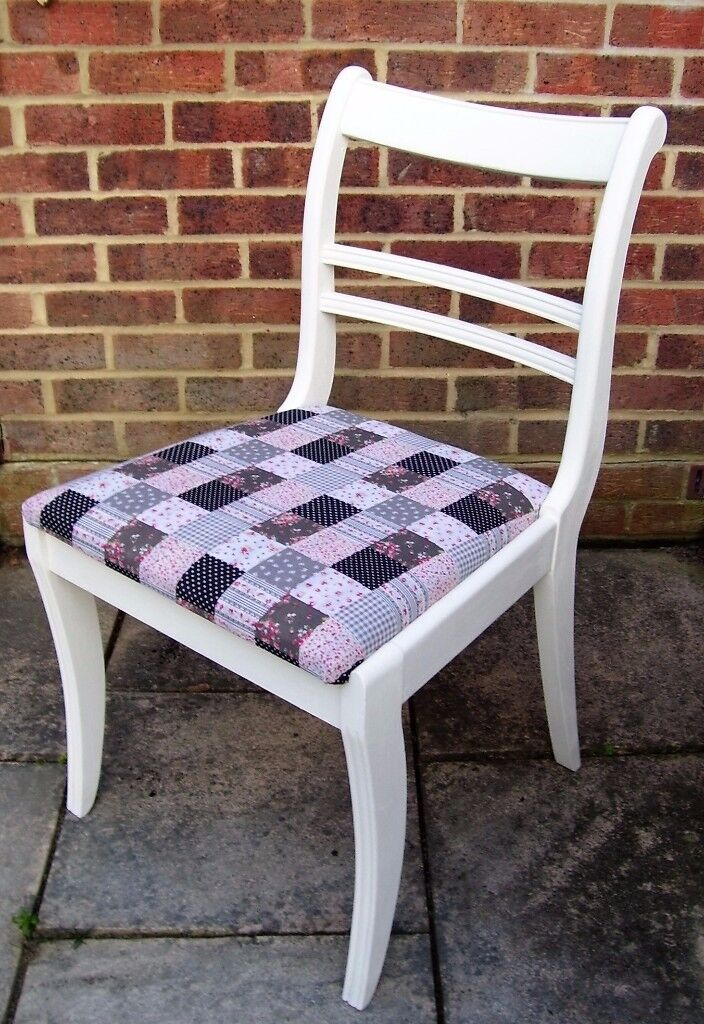 Stunning Regency Style Chair Painted in Antique White Colour and reupholstered in fabric of choice