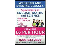 Primary, 11 Plus, Secondary, GCSE and A Level Tuition from just £6 per hour!!