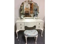 Gorgeous Vintage Dressing Table with Stool-White-Shabby Chic