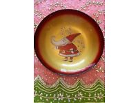 NEW CHRISTMAS Santa Claus Glass Bowl Large Glassware Tableware Gold Red CONTEMPORARY Italian Design