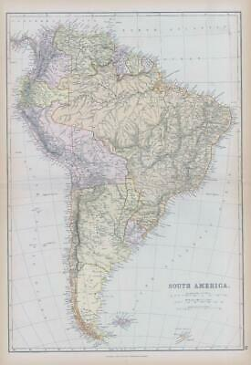 1882 LARGE Antique Colour Map of SOUTH AMERICA by BLACKIE (BA9)