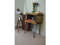 Hairpin Leg Industrial Mid Century Modern Bedside Cabinets / Tables Pair x 2