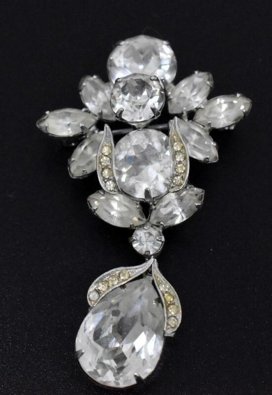 "Vintage WEISS Clear Rhinestone Jeweled Silver Tone Drop Dangle 2.25"" Brooch Pin"