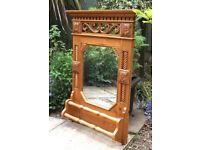 Vintage hand carved antique solid pine mirror ideal for country kitchen unusual see details