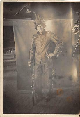 RPPC HALLOWEEN MAN IN COSTUME GUN MOVIE STUDIO REAL PHOTO POSTCARD (c. 1910) (Movie Studio Halloween Costumes)