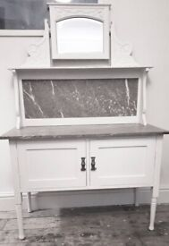 Antique Marble Topped Washstand/Cabinet
