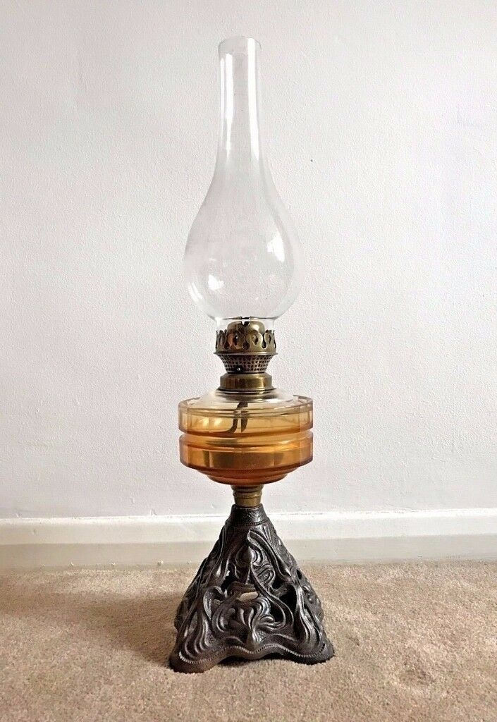 Stunning Antique Victorian Amber Oil Lamp On Cast Iron Art Nouveau