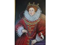 Very Large Oil Painting of Queen Elizabeth the 1st in Museum Hand carved wooden Gilt Golden frame