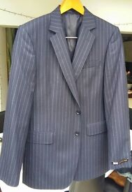 "JAEGER Navy Blue Pinstripe Suit Jacket 42"" Regular Never Worn"