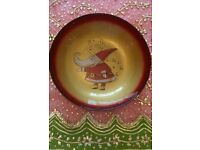 *New Large Christmas 'Santa Claus' Glass Bowl: Tableware/Decoration: Italian Gold & Red: Collectors