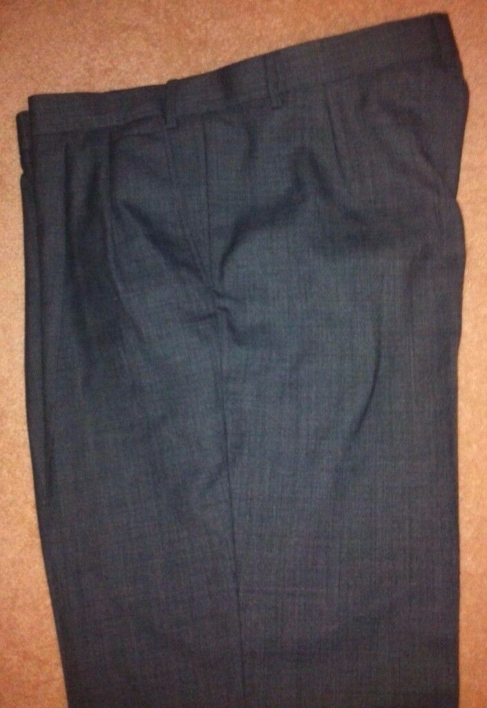 """NEW Marks and Spencer MENS WOOLBLEND SMART TROUSERS in Grey, Size W 40"""""""