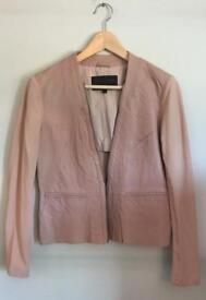 Leather and material jacket, dusky pink