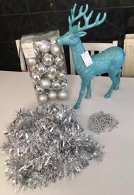 Brand New Christmas Decorations - Large Blue Reindeer, Silver Baubles, Tinsel and Beads