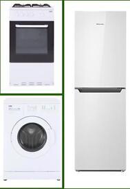 Brand new Hisense Fridge Freezer, Beko Washing Machine & Beko Cooker Oven & Grill