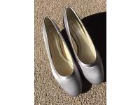 Silver grey satin shoes