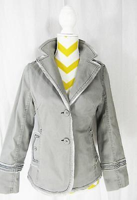 HOTTUNA Khaki Print Long Sleeve Button Front Satin Trim Womens Jacket Coat  Sz S