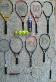 7 TENNIS RACKETS AND 3 BADMINTON RACKETS AND 3 BALLS