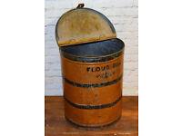 Large flour bin tin kitchen metal cafe restaurant table sign vintage industrial antique restaurant