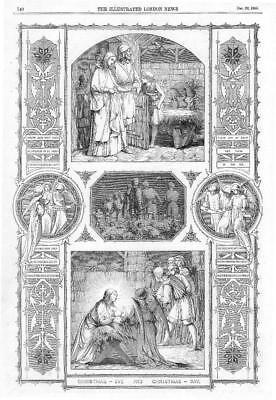 1855 Antique Print - CHRISTMAS Day Eve Mary Joseph Jesus Stable Crib  (290) ()