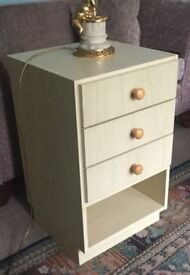 Bedside Cabinet with three drawers H27in/69cmW16in/41cmD16.5in/42cm