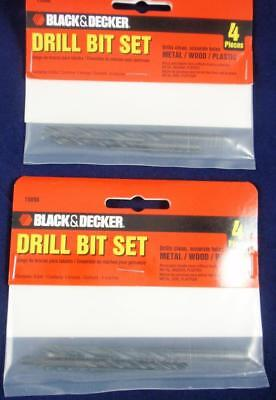 Two Black Decker Small Drill Bit Sets 116 18 And 316 Eight Bits Total