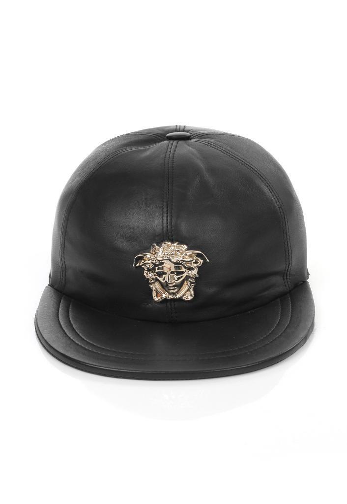 3aabdce0b4c Versace Medusa Head Black Leather Cap GENUINE