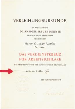 Bundesverdienstkreuz-Ehrenurkunde-Verleihungsurkunde in Nordrhein ...