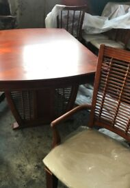 Authentic Art Deco wooden table and chairs